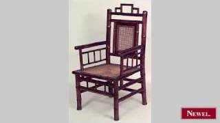 Antique Pair Of Bamboo Arm Chairs With Spindle Design On