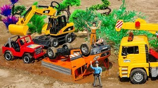 Dump Truck, Excavator, Crane Truck, Police Car Play with Bruder Toys For Kids