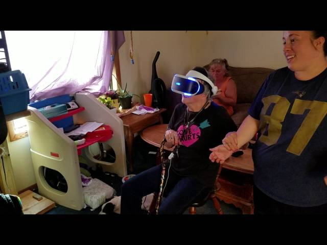 Friends Grandmother plays Ocean decent on the Playstation VR.