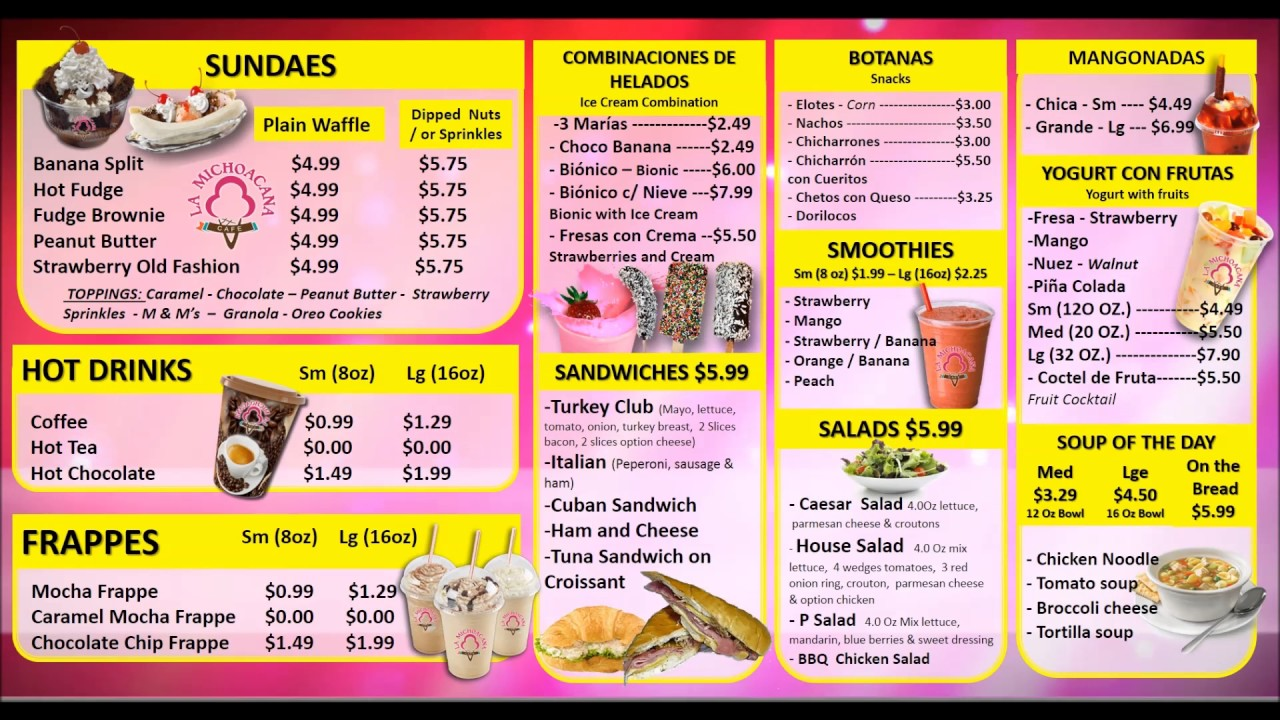 La Michoacana Cafe Menu 2 Youtube