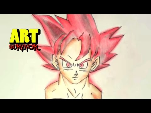 COMO DIBUJAR A GOKU FASE DIOS !!!! / Drawing Goku God - YouTube