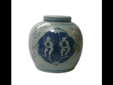 Chinese Blue & White Kids Graphic Ginger Jar fs125 from YouTube · Duration:  39 seconds