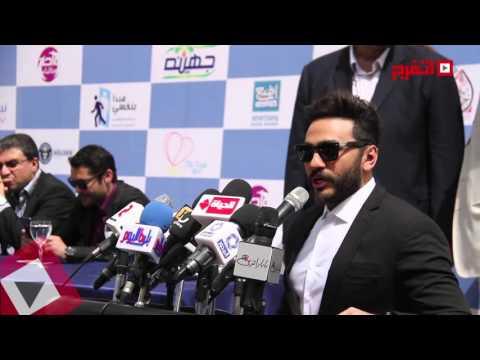 فيديو تكريم الفنان تامر حسني في احتفال نبض الحياة HD