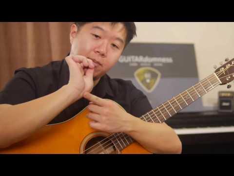 Drum Beat Strumming technique - free percussive acoustic guitar tutorial (HD) - Guitardomness
