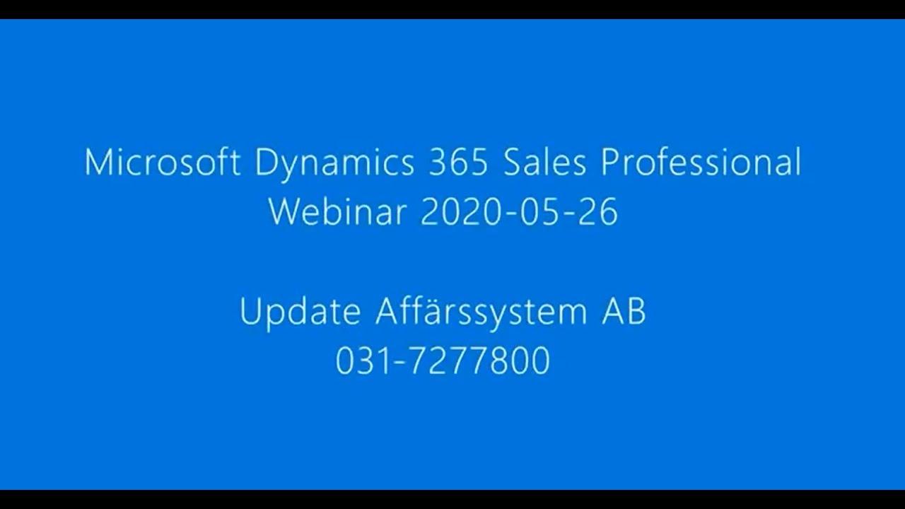Webinar Microsoft Dynamics 365 Sales Professional