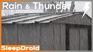 ►4k Video. 2 hours of Heavy Rain and Thunder on a metal roof storage shed. Actual rain UHD video.