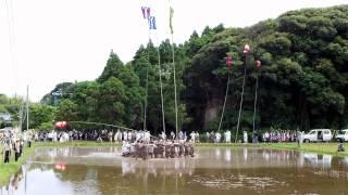 鬼丸神社お田植え祭りの一習俗です。日置八幡神社の「せっぺとべ」と同...