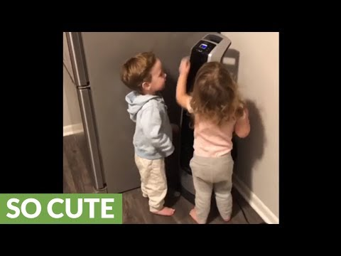 Twins love rocking out in front of the fan