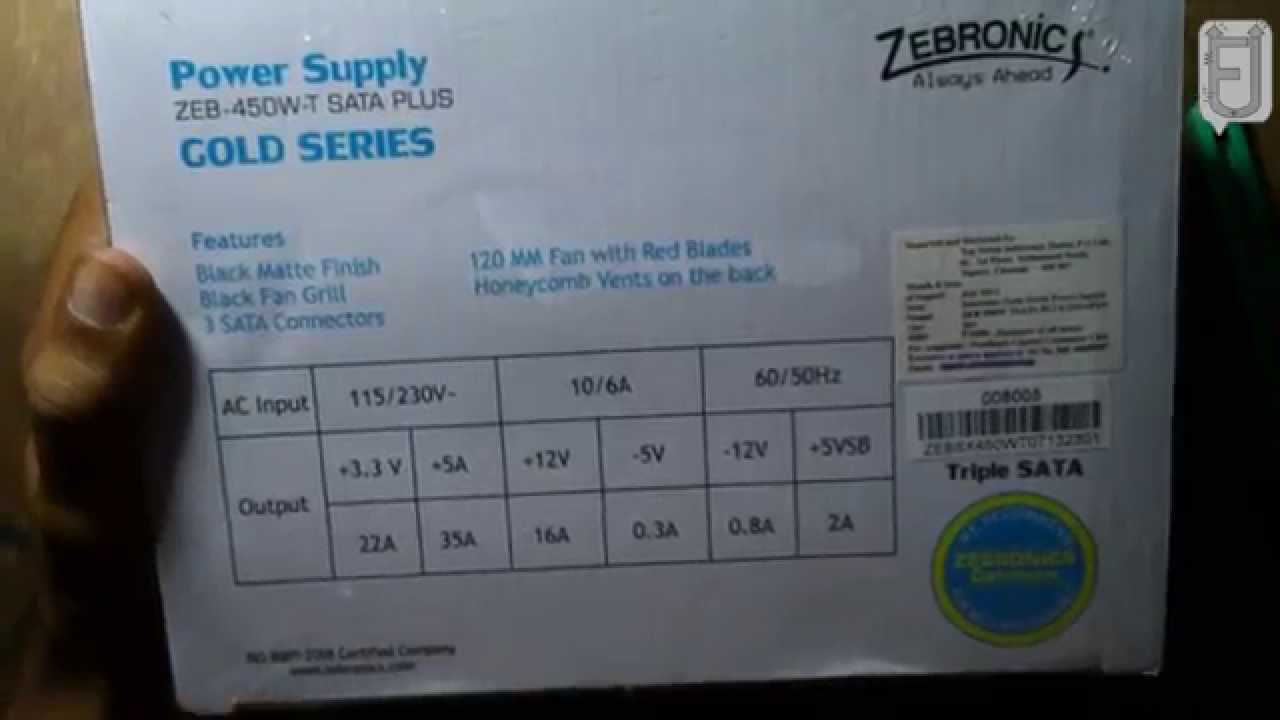 ZEBRONICS 450W POWER SUPPLY UNBOXING AND REVIEW - YouTube