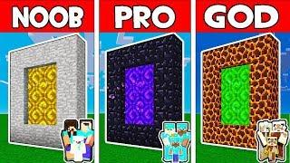 Minecraft - NOOB vs PRO vs GOD : FAMILY MONSTER PORTAL in Minecraft Animation