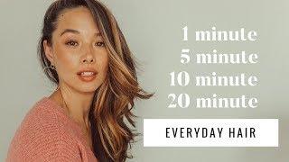 My 1, 5, 10, 20 Minute Everyday Hair Tutorials | Aja Dang