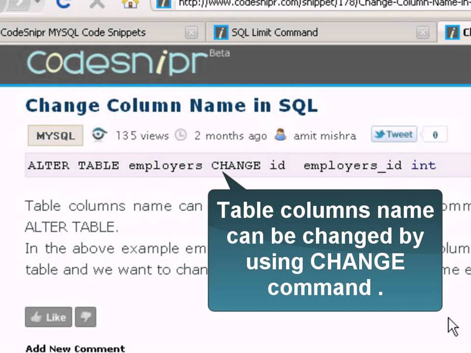 Change column name in sql youtube - Alter table modify column ...