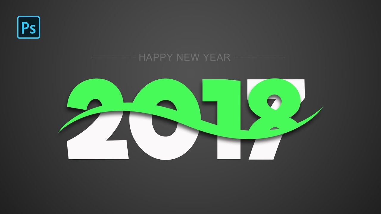 happy new year 2018 banner design photoshop tutorial