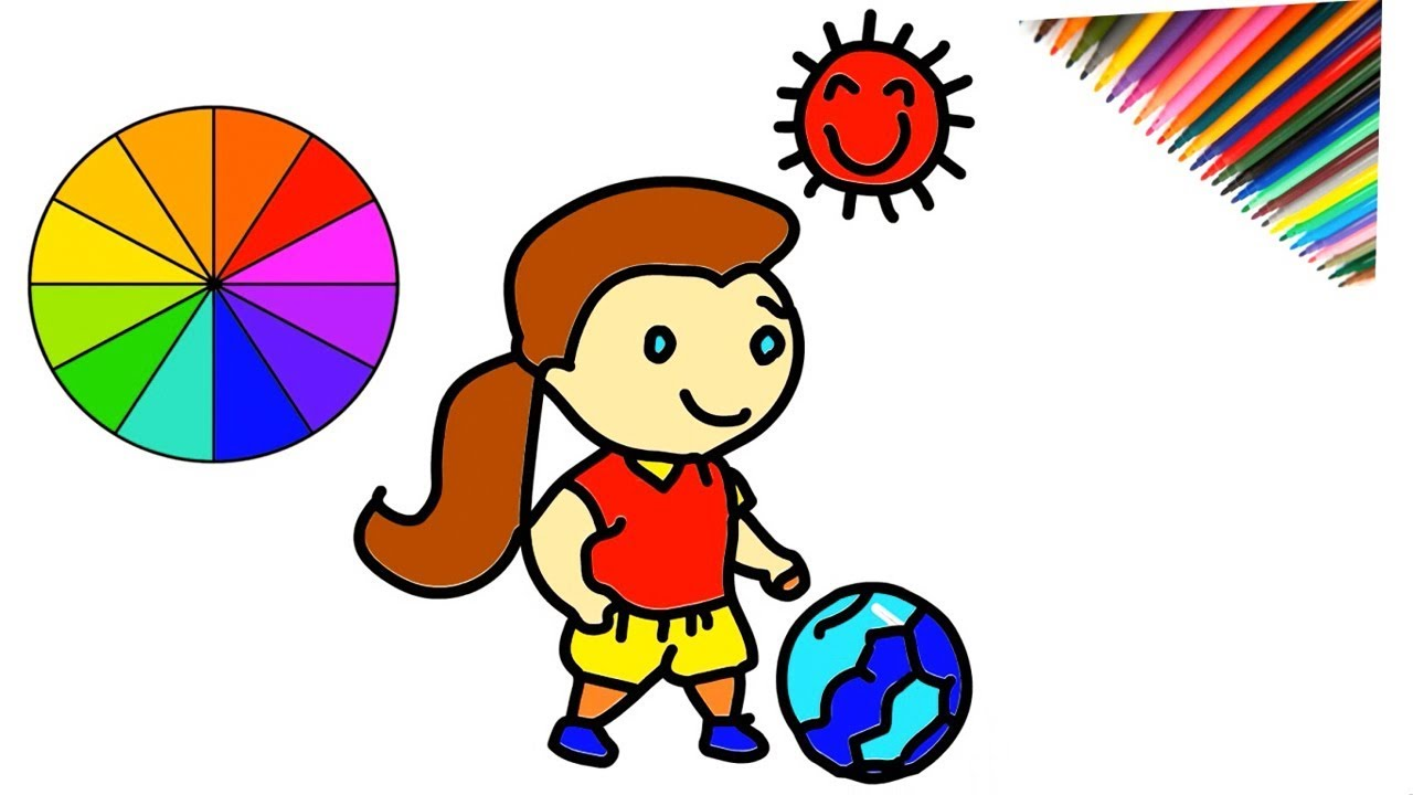 How To Drawing Playing Football And Coloring For Kids Step By Step