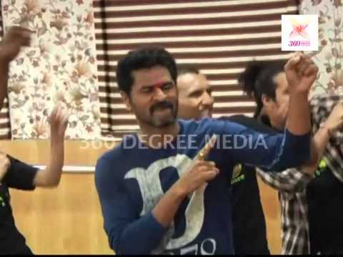 Remo D'Souza and Prabhu Deva rehearse a song with other dancers for theri movie 'ABCD'