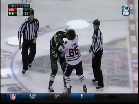 Duncan Keith Slash on Charlie Coyle; Dumba Shaw Fight