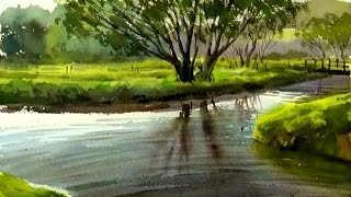 Watercolor Painting landscape : Trees Silhouetted against a Lake