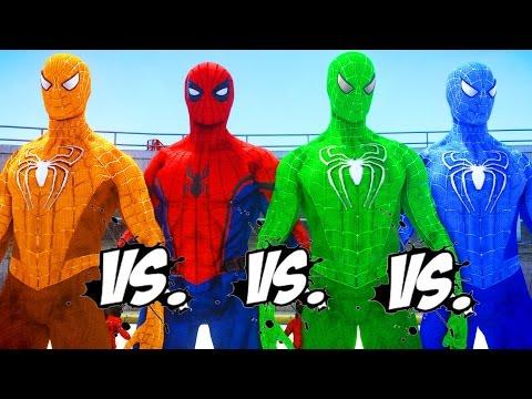 SPIDER-MAN Vs GREEN SPIDERMAN Vs ORANGE SPIDERMAN Vs BLUE SPIDERMAN - EPIC SUPERHEROES BATTLE