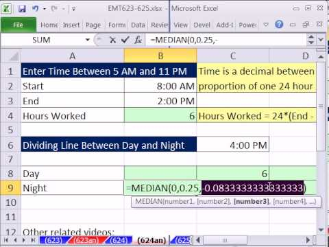 Excel Magic Trick 624: Hours Worked Part Day Shift & Part For Night Shift  MEDIAN Function for Hurdle
