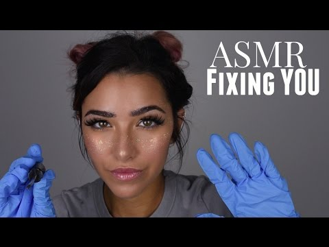 ASMR Fixing You Whispered Roleplay (Gloves sounds, Face Brushing, Scratching sounds and +)