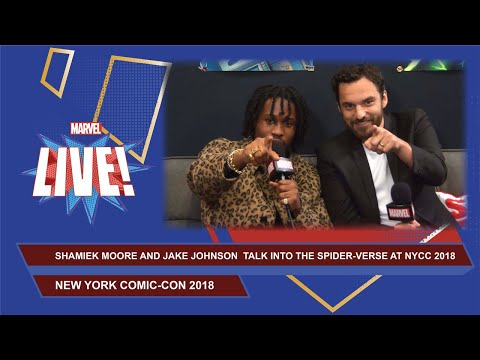 Into the Spider-Verse stars Shameik Moore Moore and Jake Johnson NYCC 2018 Interview