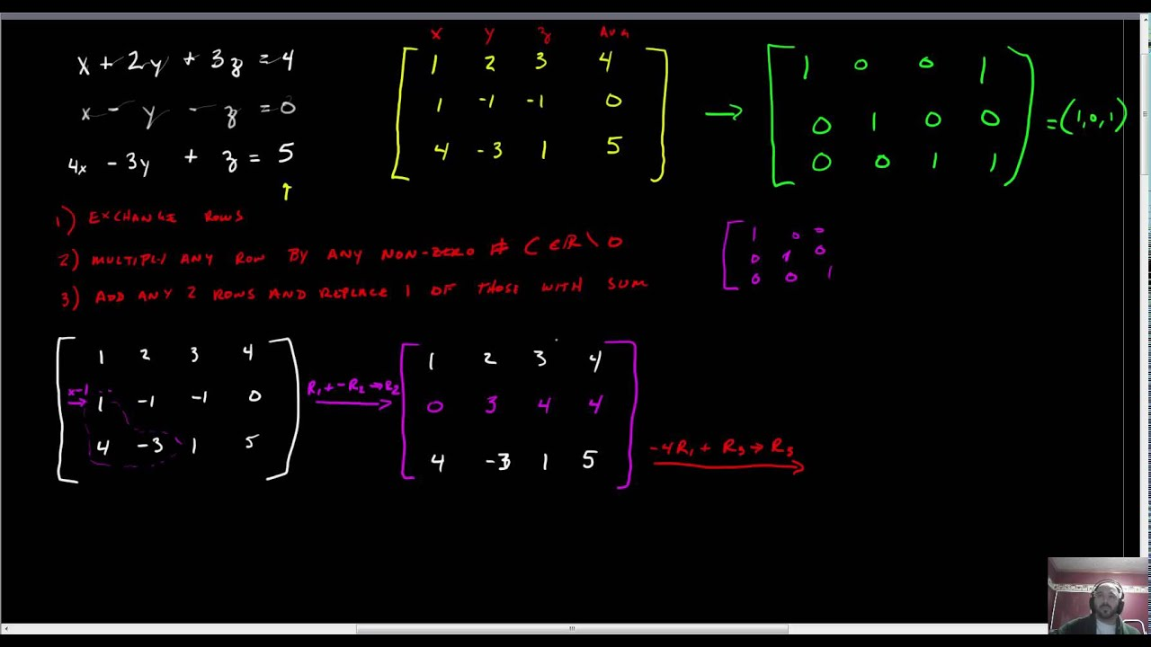 solving matrices by hand 3x4   youtube