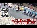 Kaza Yapan Taksi Yayaların Arasına Böyle Daldı: 2 Yaralı