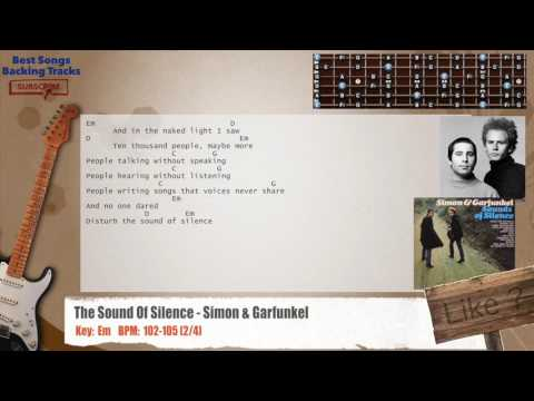 The Sound Of Silence - Simon & Garfunkel Guitar Backing Track with chords and lyrics
