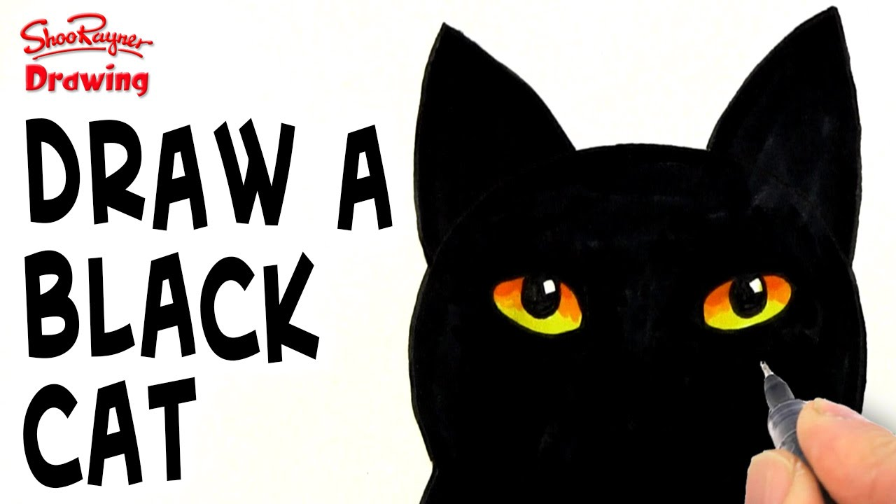 How To Draw A Black Cat Youtube