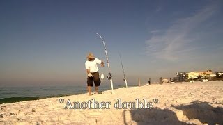 Double Hookups - Pompano Fishing and Raking Sand Fleas