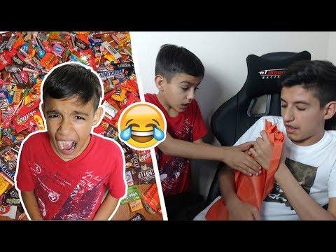 Eating Little Brother's Halloween Candy Prank! (Rage)