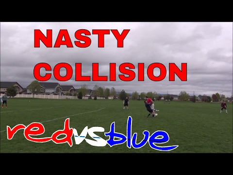 NASTY COLLISION Between 2 Players!!!  RED VS BLUE MATCH IRL Football/Soccer highlights. Game #7