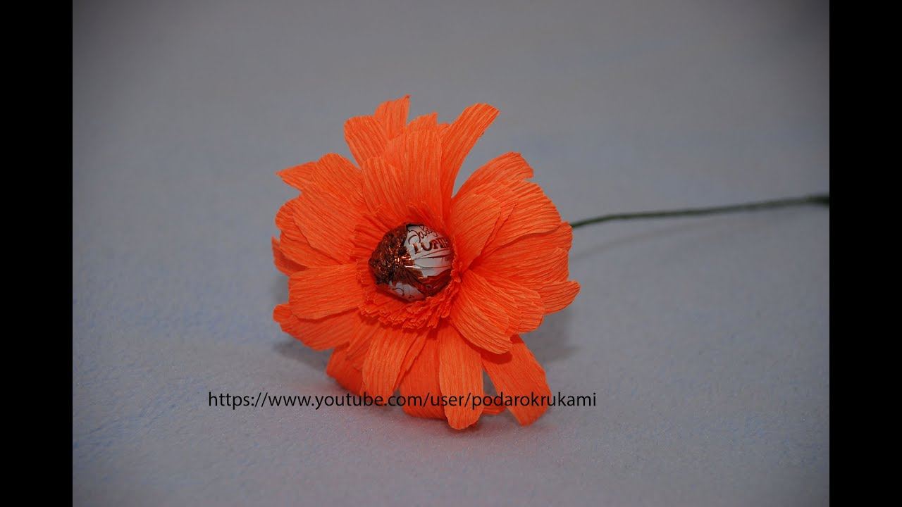 Герберы цветы из гофрированной бумаги своими руками