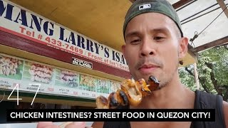 chicken intestines isaw street food tour in quezon city manila day 1   vlog 47