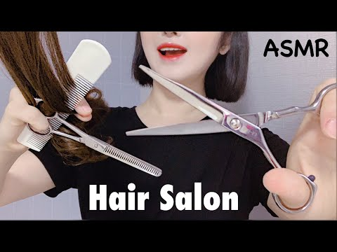 ASMR Relaxing Hair Salon OPEN ✂️ Haircut/ Shampoo / Brushing / Straigtener / Blow Dry