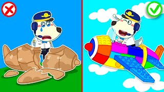 Wolfoo Builds a Colorful Lego Airplane and Becomes Little Pilot | Wolfoo Family Kids Cartoon