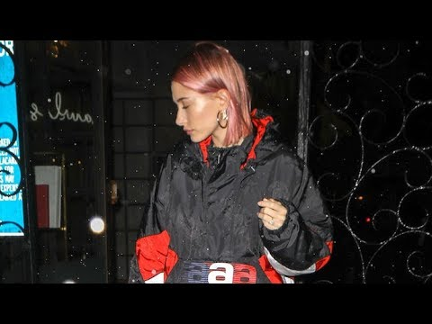 Hailey Bieber Is Caught In The Rain After 3-Hour Hospital Visit