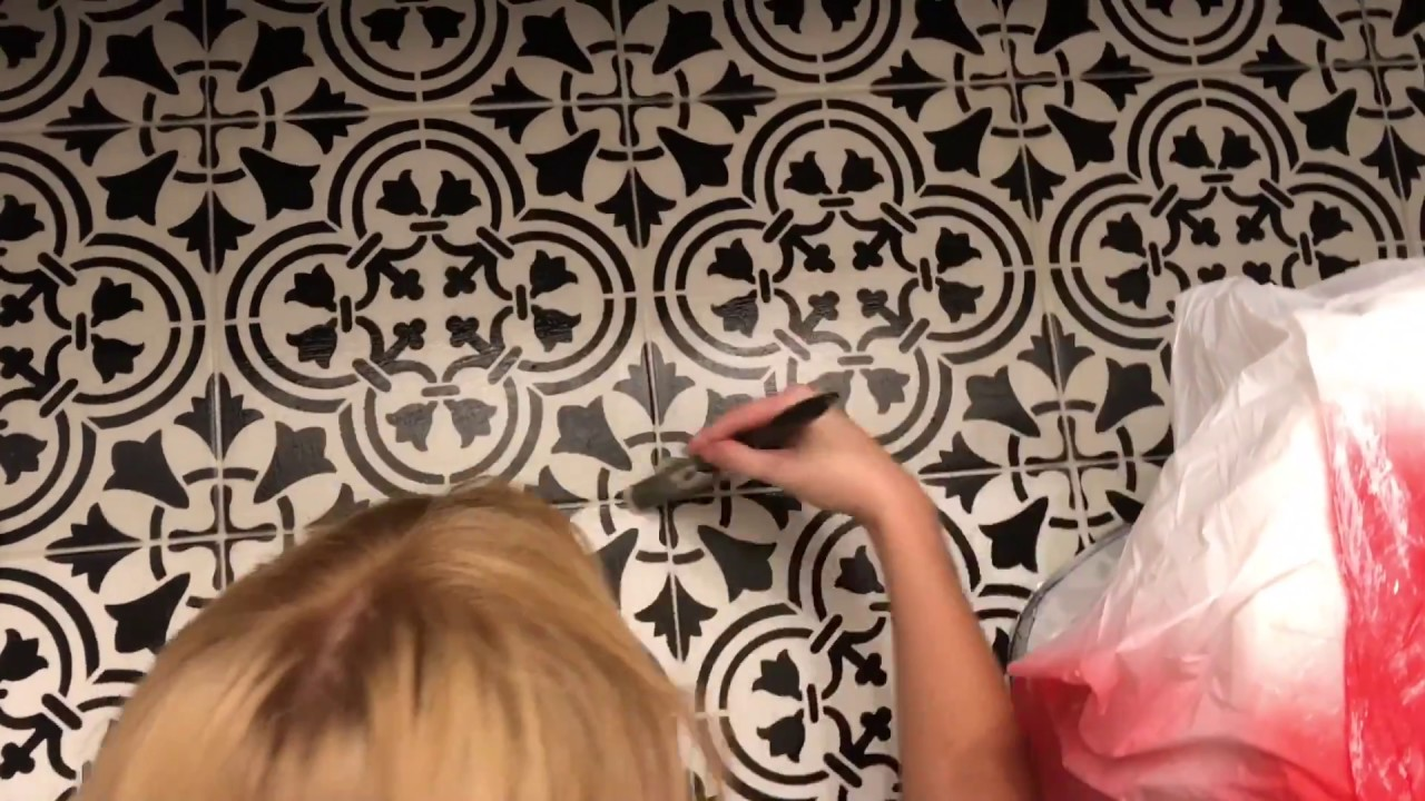 How to stencil paint ceramic floor tile farmhouse style bathroom how to stencil paint ceramic floor tile farmhouse style bathroom floor diy youtube dailygadgetfo Choice Image
