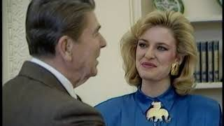 President Reagan meeting with Miss America Sharlene Wells on January 23, 1985