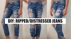 DIY Ripped/Distressed Boyfriend Jeans
