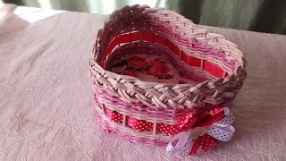DIY Weaving newspaper  tutorial how to make a heart box