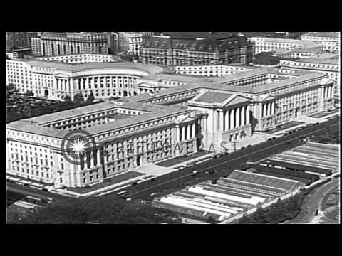 Aerial view of Constitution Avenue in Washington DC, United States HD Stock Footage