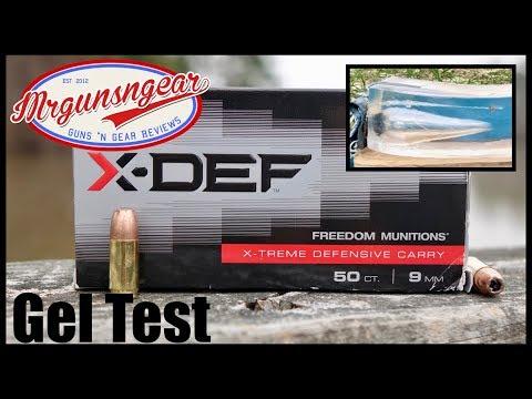 Freedom Munitions X-DEF Bonded 124gr JHP 9mm +P Ballistics Gel Test