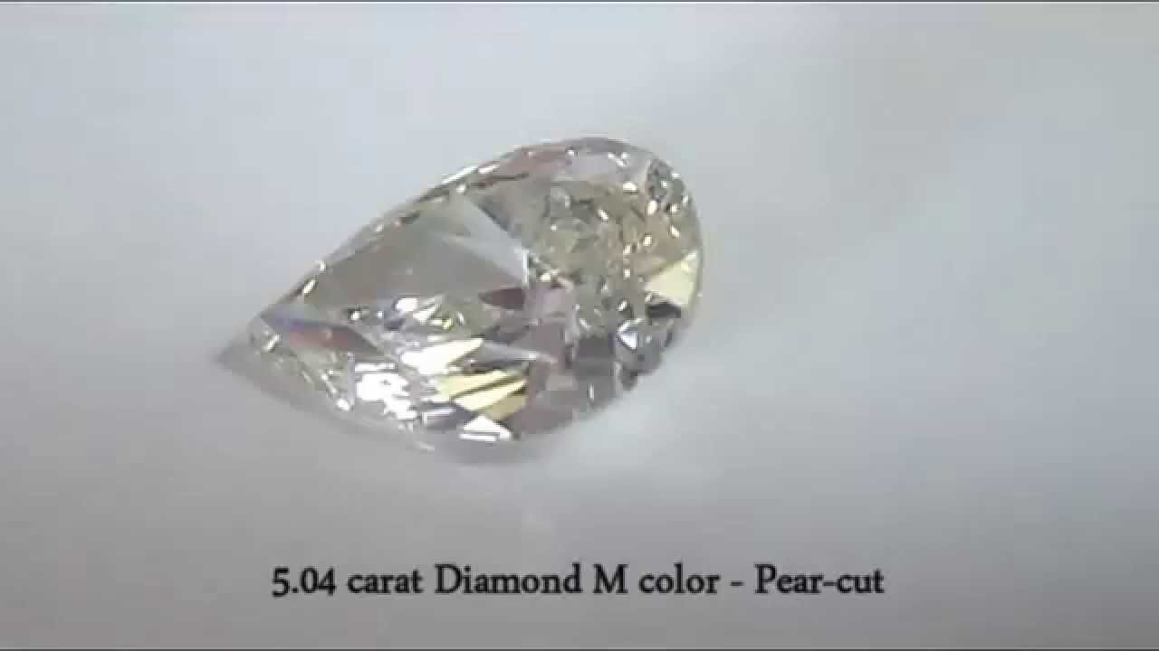 5.04 carat Natural Yellowish Diamond, M color, Pear-cut (DR00 ...