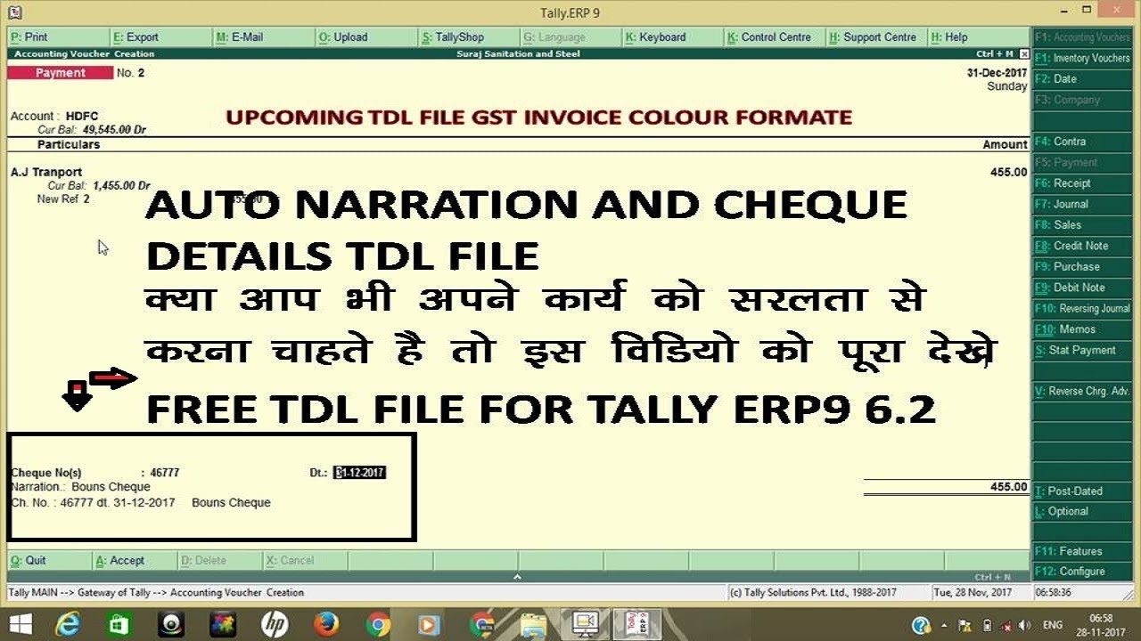 AUTO NARRATION AND CHEQUE DETAILS FREE TDL FOR TALLY ERP9 6 2