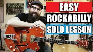 Easy Rockabilly Solo - Guitar Lesson (w/tabs & backing track)