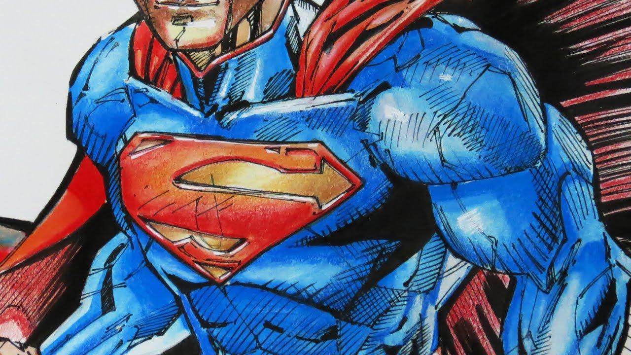 Drawing Superman Watercolor Ink Pen Colored Pencils