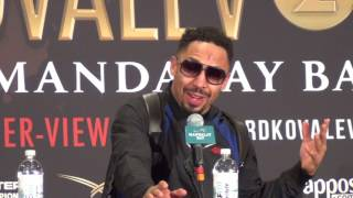 Andre Ward and his team speak at the press conference following the...