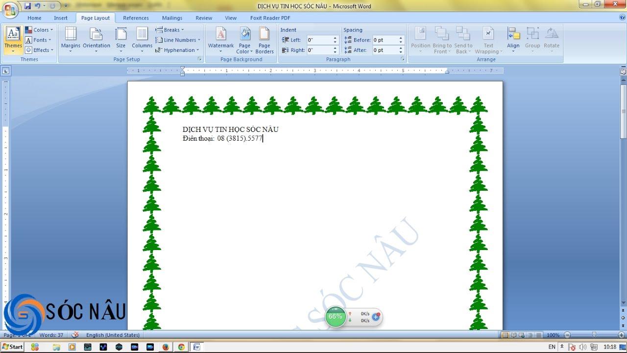 Cách tạo đường viền trong Word 2007