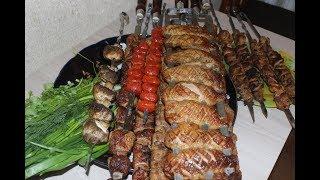 Шашлык из филе утки рецепты.Шашлык из свинины.
